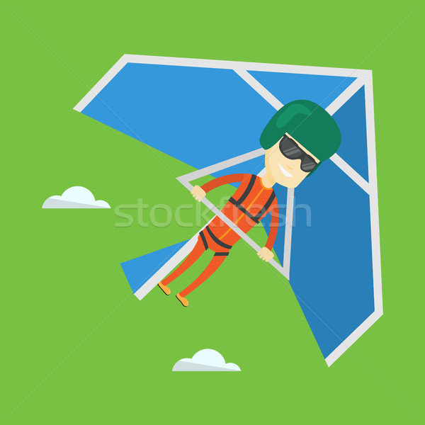 Man flying on hang-glider vector illustration. Stock photo © RAStudio