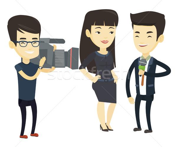 TV interview vector illustration. Stock photo © RAStudio