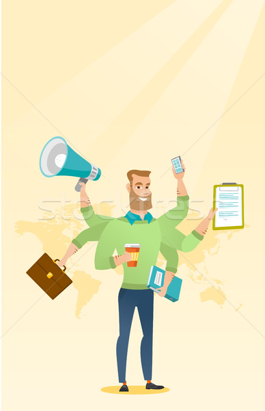 Man coping with multitasking vector illustration. Stock photo © RAStudio