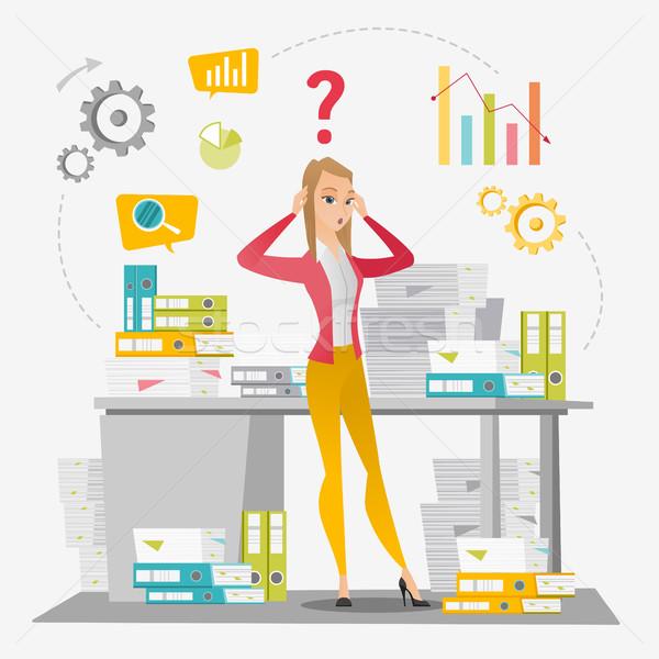 Business woman overloaded with paperwork. Stock photo © RAStudio