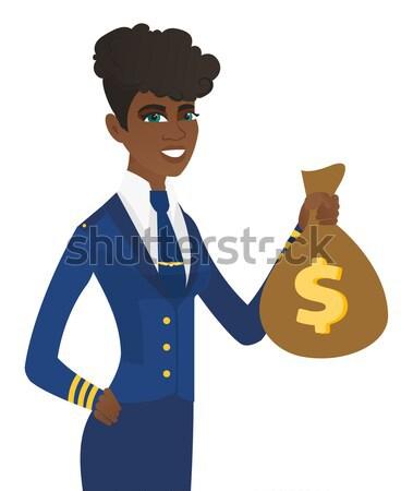 üzletember mutat pénz táska üzletember dollárjel Stock fotó © RAStudio