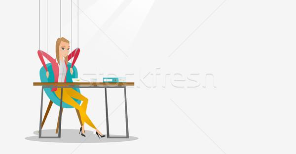 деловой женщины марионетка Веревки рабочих молодые подвесной Сток-фото © RAStudio