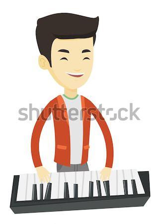 Man spelen piano jonge kaukasisch muzikant Stockfoto © RAStudio