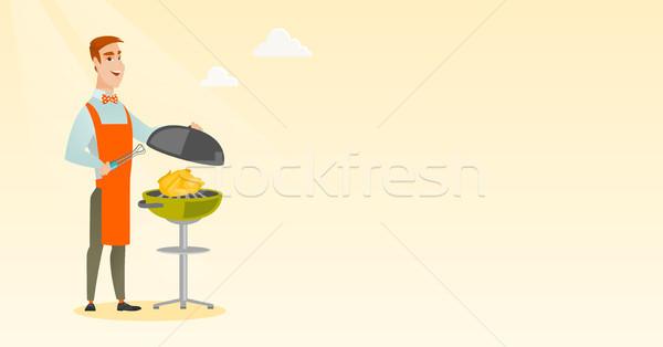 男 料理 鶏 バーベキューグリル 白人 屋外 ストックフォト © RAStudio