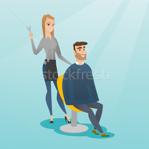 Hairdresser making haircut to hipster man. Stock photo © RAStudio