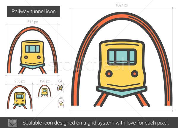 Stock photo: Railway tunnel line icon.