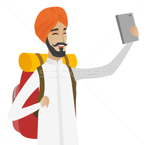 Hindu traveler man with backpack making selfie. Stock photo © RAStudio