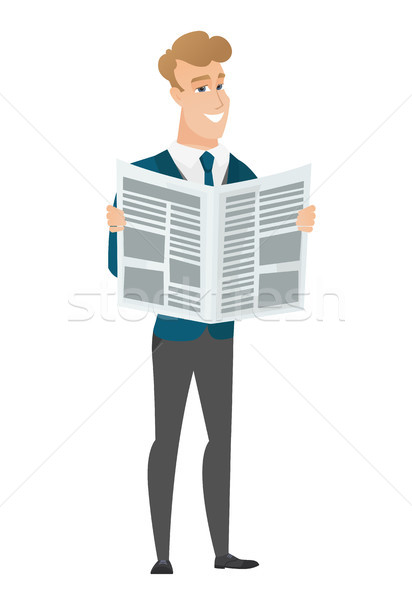 Groom reading newspaper vector illustration Stock photo © RAStudio