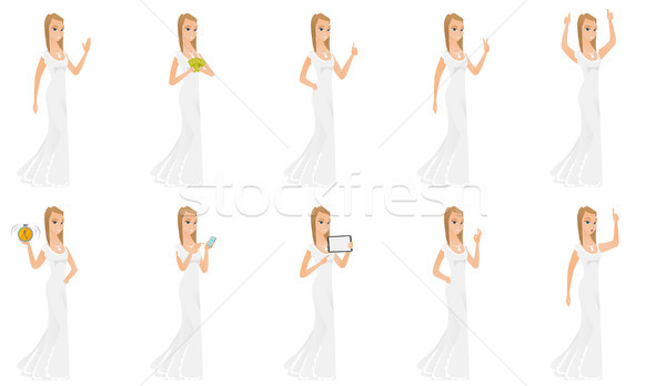 Vector set of illustrations with bride character. Stock photo © RAStudio