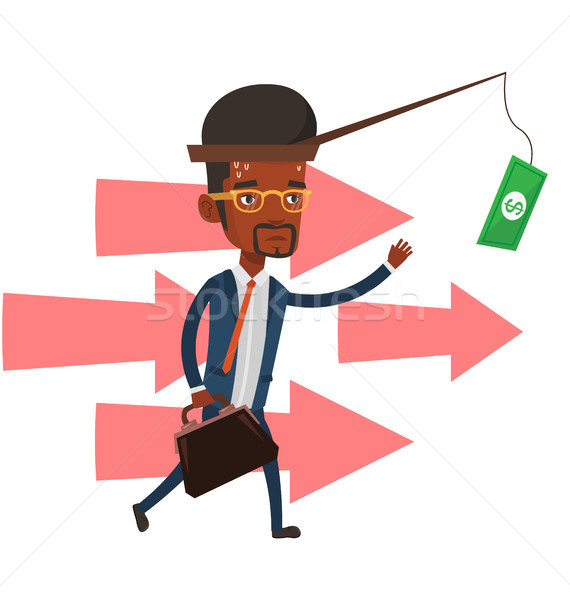 Businessman trying to catch money on fishing rod. Stock photo © RAStudio