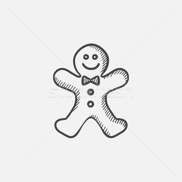 Gingerbread man croquis icône web mobiles infographie Photo stock © RAStudio