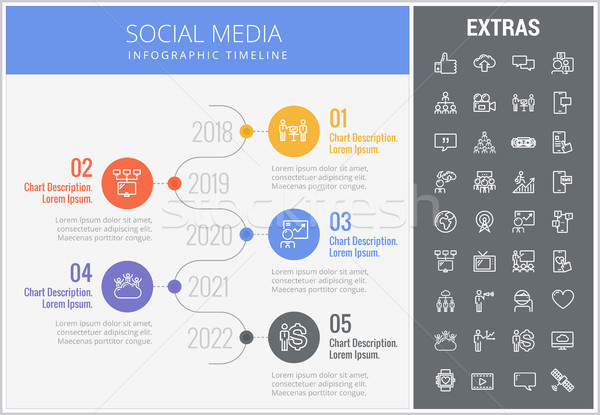 Stock photo: Social media infographic template, elements, icons