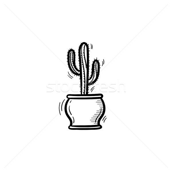 サボテン ポット 手描き スケッチ アイコン 装飾的な ストックフォト © RAStudio