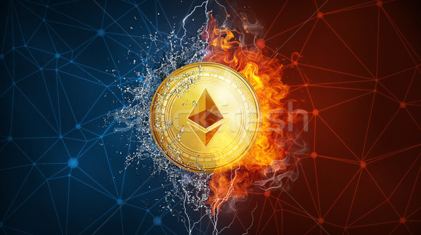 Gold ethereum coin hard fork in fire flame, lightning and water splashes. Stock photo © RAStudio