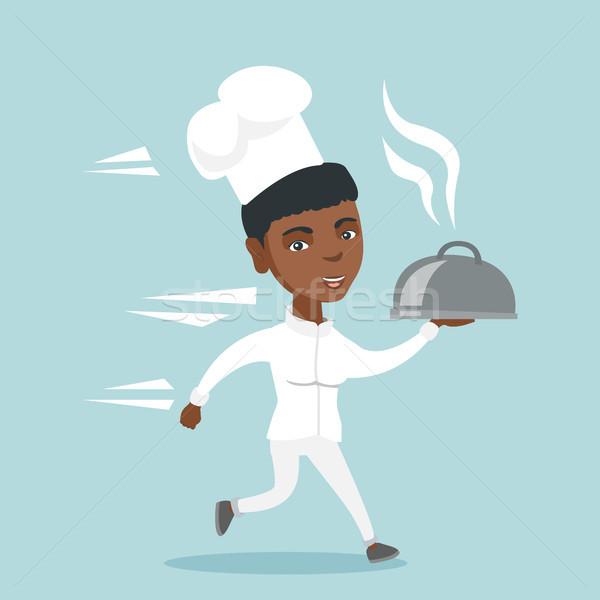 Fiatal szakács szakács fut edény női Stock fotó © RAStudio