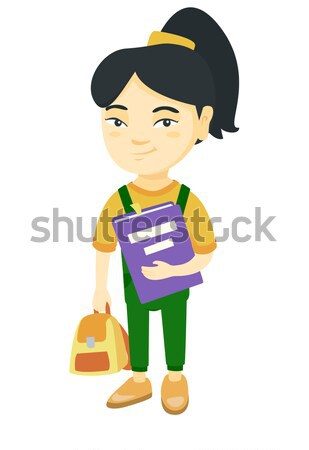African-american pupil with backpack and textbook. Stock photo © RAStudio
