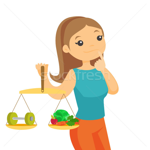 Caucasian white woman weighing food and dumbbell. Stock photo © RAStudio