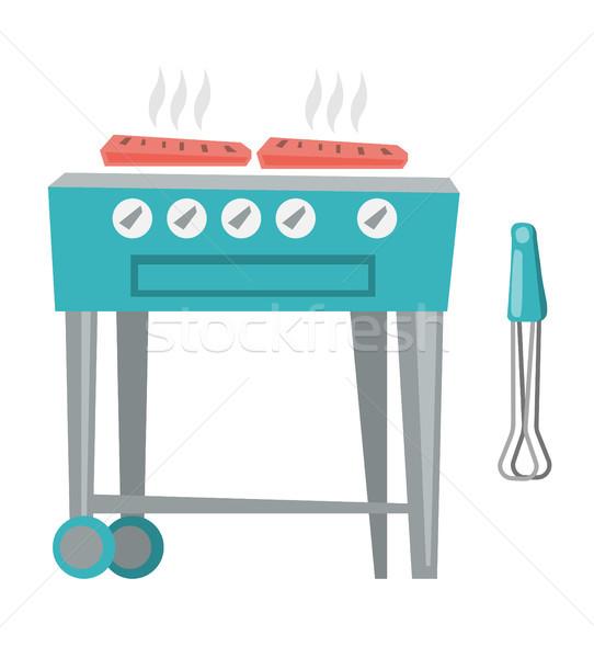 Barbecue gas grill vector cartoon illustratie Stockfoto © RAStudio