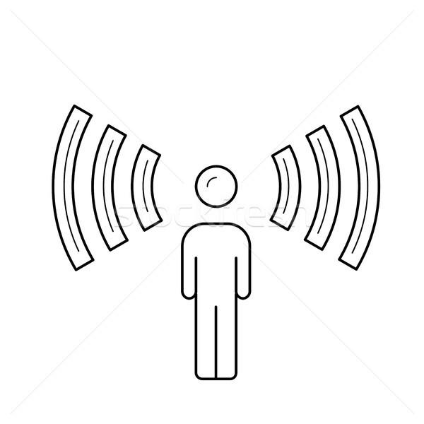 Podcast line icona suono onde vettore Foto d'archivio © RAStudio