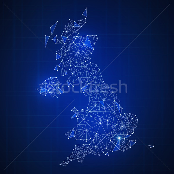 Polygon Great britain map on blockchain hud banner Stock photo © RAStudio