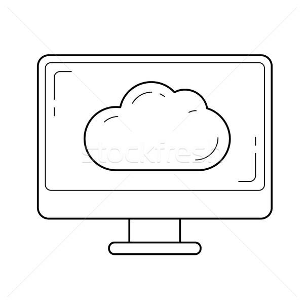 Tela do computador linha ícone vetor isolado branco Foto stock © RAStudio