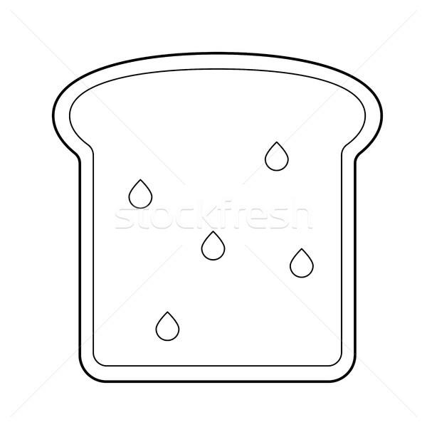 Stockfoto: Volkoren · toast · brood · vector · lijn · icon