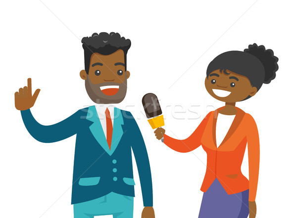African-american reporter interviewing a man. Stock photo © RAStudio