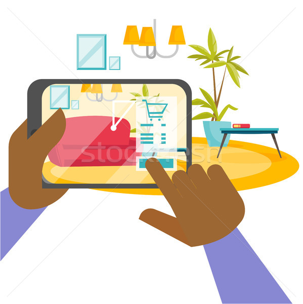 Hands holding tablet with augmented reality app. Stock photo © RAStudio