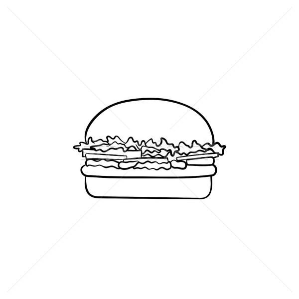 Foto stock: Burger · dibujado · a · mano · boceto · icono · garabato