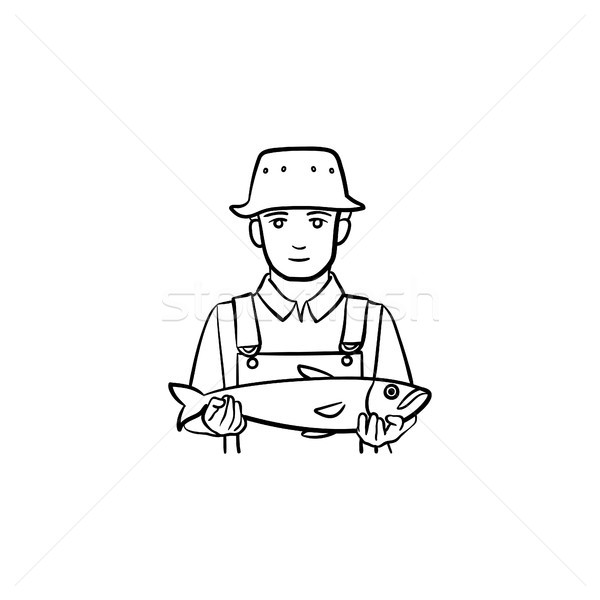 Fisherman hand drawn sketch icon. Stock photo © RAStudio