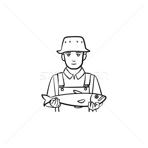 Halász kézzel rajzolt rajz ikon skicc firka Stock fotó © RAStudio