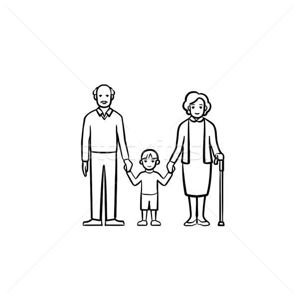 дедушка и бабушка внук рисованной эскиз икона Сток-фото © RAStudio