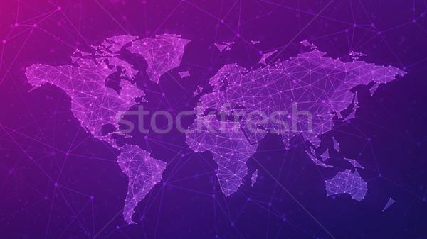 Polygon world map on blockchain hud banner. Stock photo © RAStudio