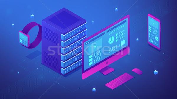Isométrique données électronique bleu violette Photo stock © RAStudio