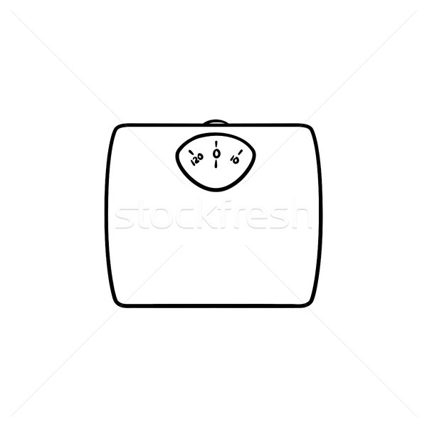 Stock photo: Weight scale hand drawn outline doodle icon.