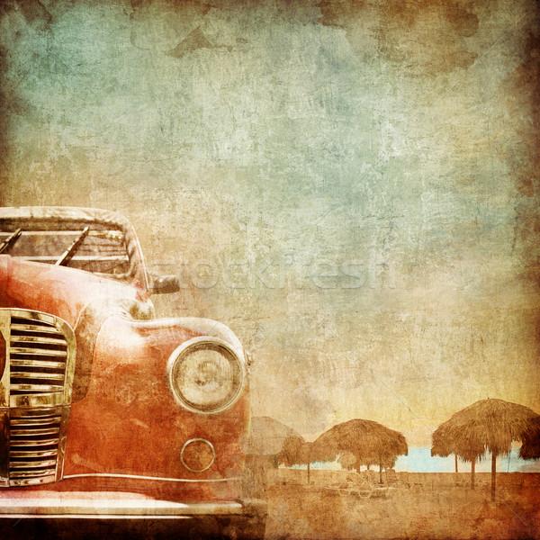 Stary samochód starego papieru stylu Fotografia plaży niebo Zdjęcia stock © RAStudio
