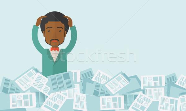 Negro tipo papel alrededor empleado trabajo Foto stock © RAStudio