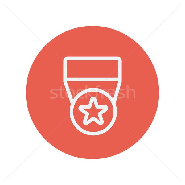 Uno estrellas medalla delgado línea icono Foto stock © RAStudio