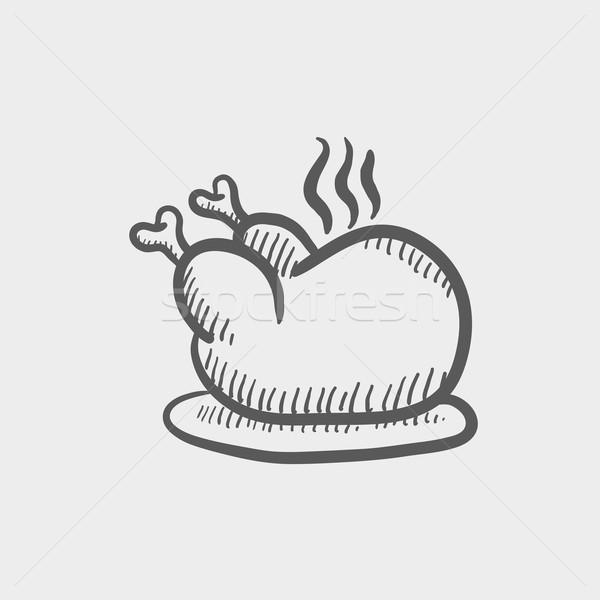 全体 鶏 スケッチ アイコン ウェブ ストックフォト © RAStudio