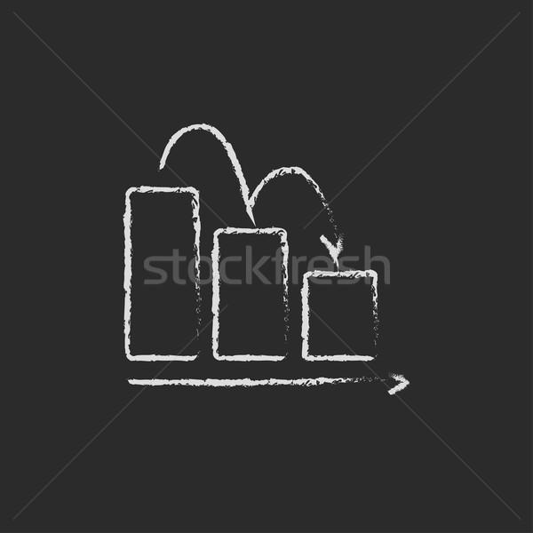 Staafdiagram beneden icon krijt Stockfoto © RAStudio