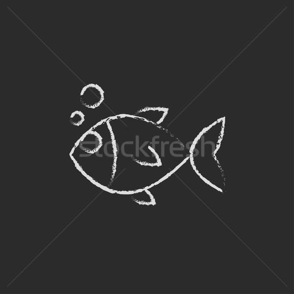 Little fish under water icon drawn in chalk. Stock photo © RAStudio