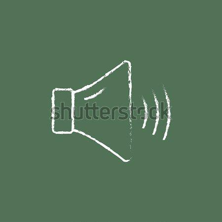 Dempen spreker icon krijt Stockfoto © RAStudio