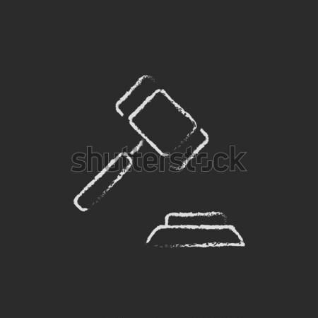 Auction gavel icon drawn in chalk. Stock photo © RAStudio