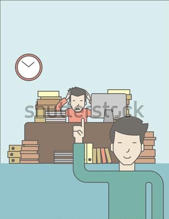 крайний срок бизнесмен сидят месте служба глядя Сток-фото © RAStudio