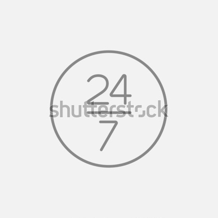 Open 24 hours and 7 days in wheek sign line icon. Stock photo © RAStudio