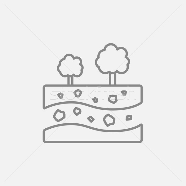 Cut of soil with different layers and trees on top line icon. Stock photo © RAStudio