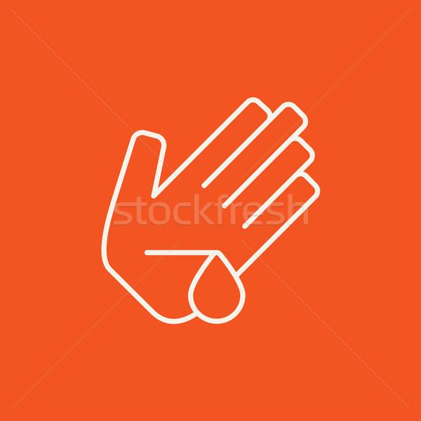 Verwond palm lijn icon web mobiele Stockfoto © RAStudio