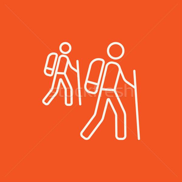 Turista hátizsákos turisták vonal ikon háló mobil Stock fotó © RAStudio