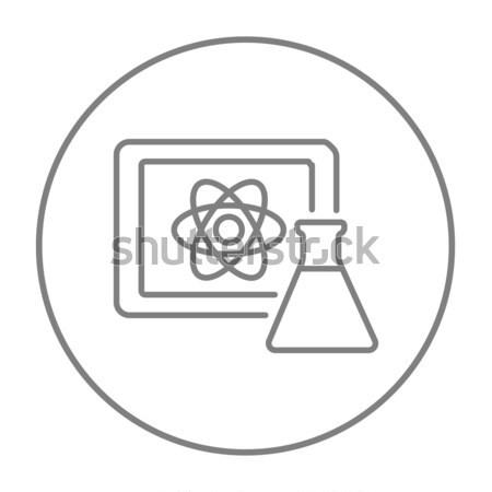 Atom sign drawn on board and flask line icon. Stock photo © RAStudio