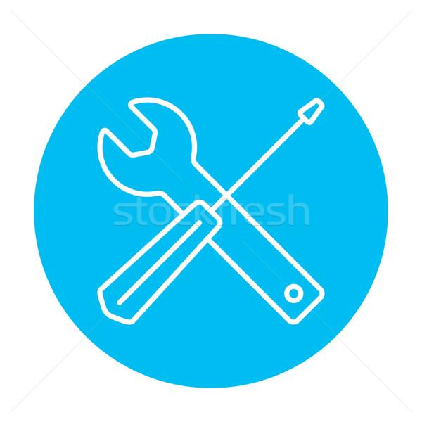Chave de fenda chave inglesa ferramentas linha ícone teia Foto stock © RAStudio